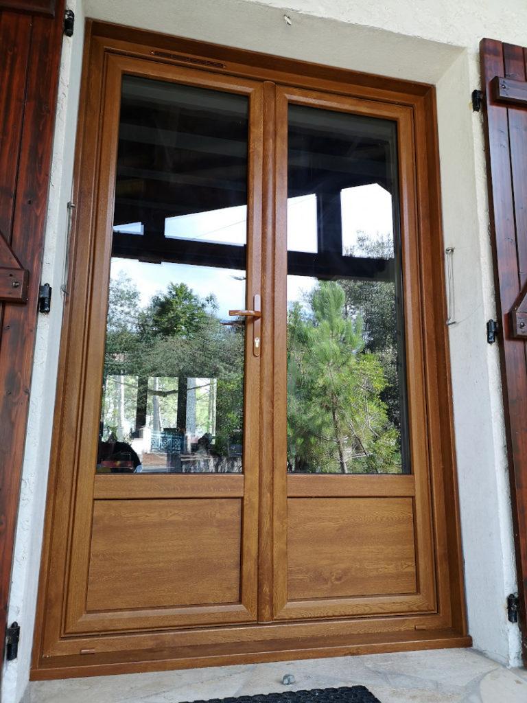 Porte fenêtre pvc imitation bois